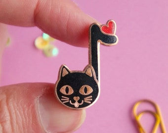Music Cat Enamel Pin - music teacher gift - black cat lapel pin - cat lady gift - music lover - cat gifts - cat jewelry