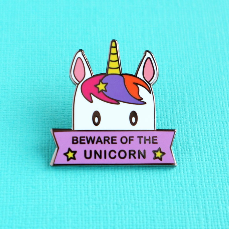 Funny Unicorn Enamel Pin Beware of the Unicorn image 0