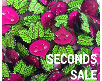 SECONDS SALE! - Little Miss Beetroot Enamel Pin - kawaii jewelry - cute gifts - pink brooch - lapel pin - gifts for girls