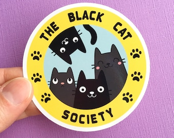 Black Cat Society large laptop sticker - cat vinyl sticker - gifts for animal lovers - cat lady gifts - black cats