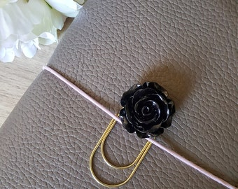 Black Planner Charm Peach Blossom Flower Charm Black Flower Planner Charm