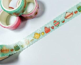 Long Washi Tape 9.1 m x 1.5 cm Masking Tape Green Bird House Theme Washi Tape