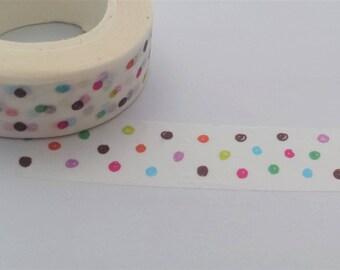 Polka Dot Washi Tape//Dotty Craft Tape//Rainbow