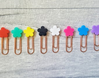 Flower Planner Clip, Mini Planner Clip Set, Rose Gold Planner Accessories