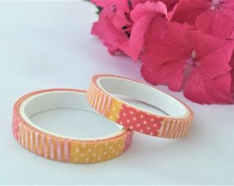 Orange Spot & Stripe Washi//Stripey Craft Tape//Spotty Decorative Tape