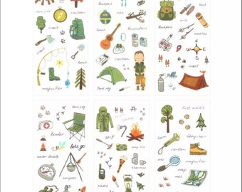 Camping Sticker Sheets, Kisscut Scrapbook Stickers, Camping Planner Stickers