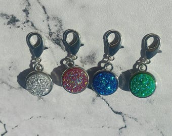 Double Sided Druzy planner charm/zipper charm