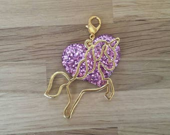 Unicorn & Heart planner charm/zipper charm/bag charm