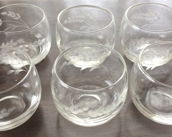 Antique Mid Century Etched Wheat Shot Glass Set of 6 BEAUTIFUL!