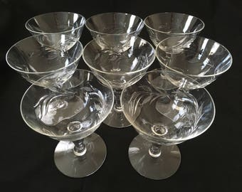 Antique Vintage Set Champagne Glass  Glasses Etched Crystal Lot of 8