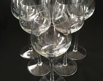 Antique Art Deco Set Wine Glass Glasses Stems Etched Flowers Floral Hand Blown Gorgeous!