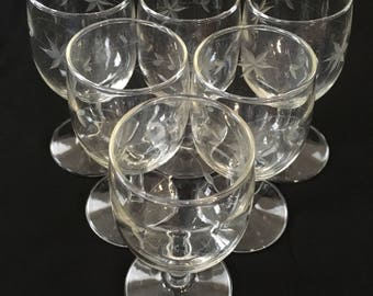 Antique Vintage Mid Century Wine Glass Set with Etched Stars