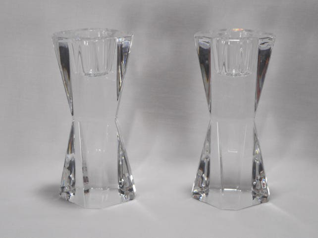 Atlantis Crystal Candle Holders Portugal Lead Crystal Glass Etsy