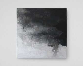 THE STORM - abstract art on canvas / acrylic painting with water / fluid acrylic painting / black and white black white
