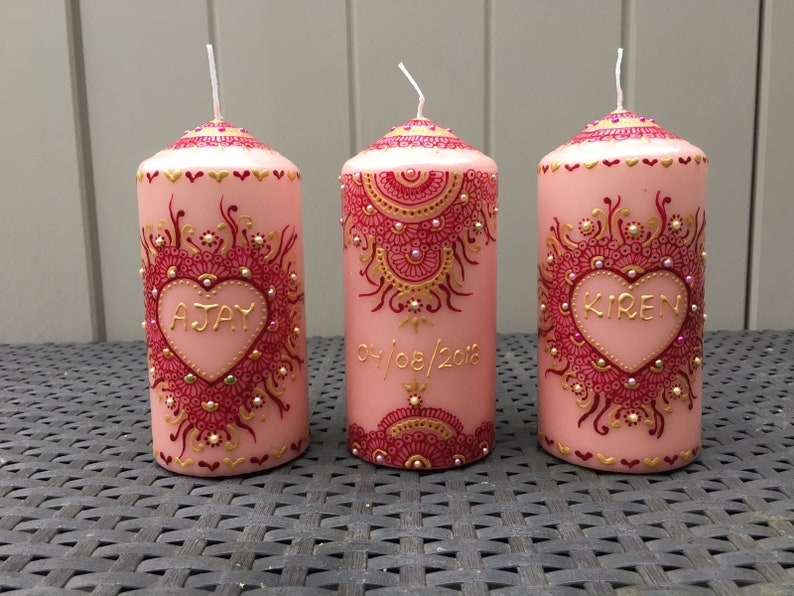 birthdays, Christmas wedding 3x Decorative Personalized Henna mehndi candles