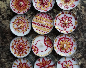 Set of 12 Henna Painted Tea Light Decorative Candles