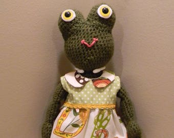 Frog Doll Crochet Amigurumi Plushie Plush Softy Plush Frog Princess Stuffed Animal Toy