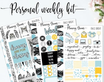 Planner stickers || Personal kit - Owls - Bright || Personal sticker set, Personal planner, Filofax stickers, travellers notebook stickers