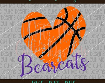 SVG DXF PNG cut file cricut silhouette cameo scrap booking Bearcats  Basketball Heart Distressed 212ec9156