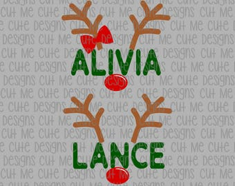 SVG DXF PNG cut file cricut silhouette cameo scrap booking Christmas Boy and Girl Reindeer (Name/Font Not Included)