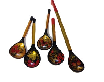 Set of Khokhloma Russian Decorative Wooden Serving Spoon (5)