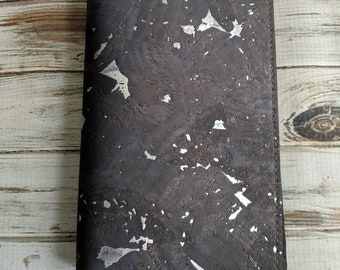 Chunky silver on charcoal cork travelers notebook wallet insert - Made to order