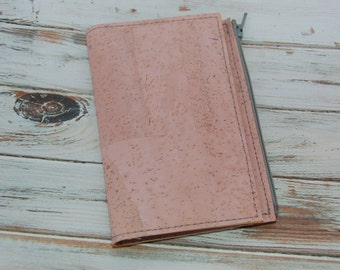 Light Pink colored cork travelers notebook wallet insert - Made to order