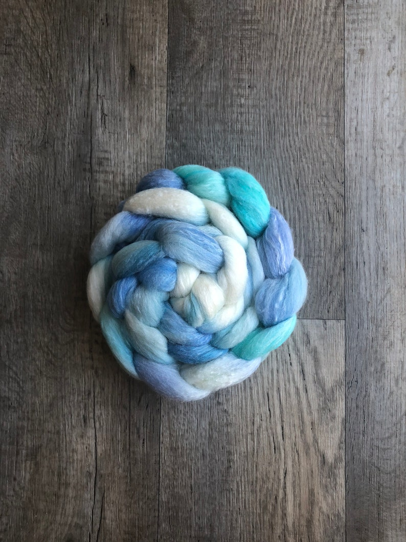 hand dyed combed top spinning fiber Ocean roving SPINHERFREE 4 oz merinobamboosilk