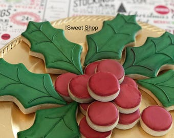 Holly & Berry Holiday Cookies