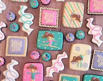 Gymnastics Girls Iced Sugar Cookies