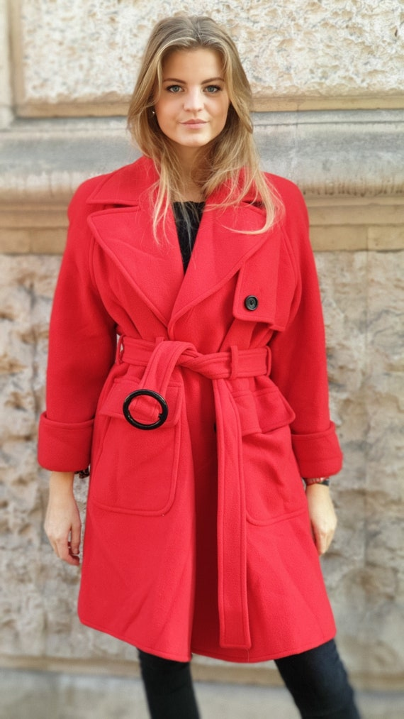 vintage 90s wool classic red coat by Valentino
