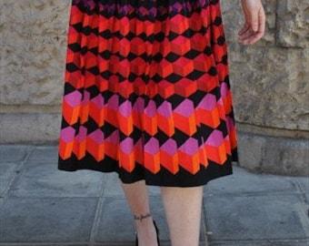 Vintage long skirt multi fantasy 80's Cod 4-179