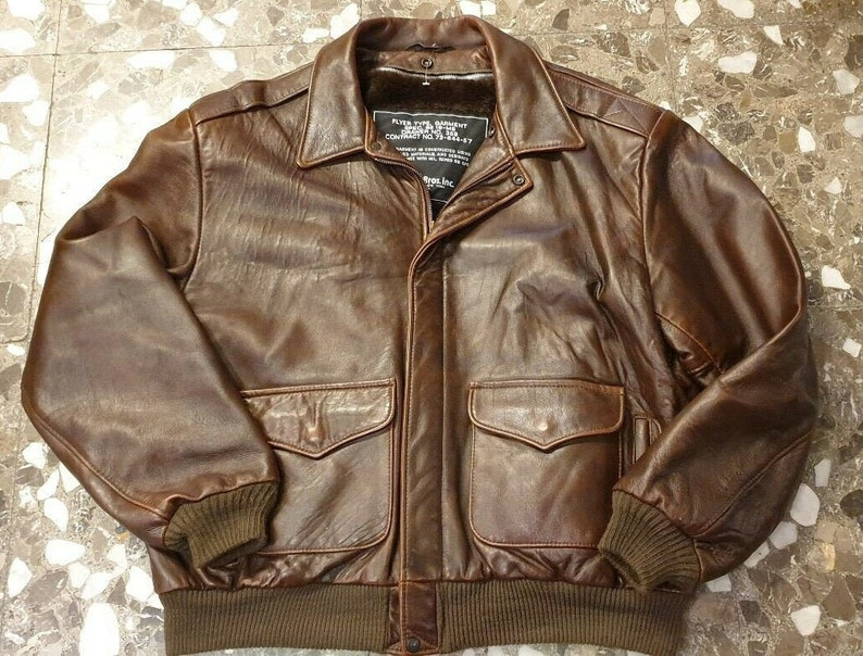 save off 5a254 c4bf9 GIACCA Pelle Aviatore Leather Bomber Flight Jacket size 48 Schott 90s