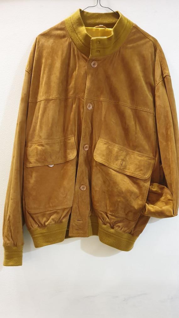 vintage 90s bomber suede jacket