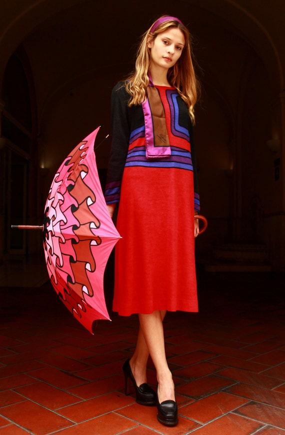 Roberta di Camerino vintage dress 60 trompe l'oeil