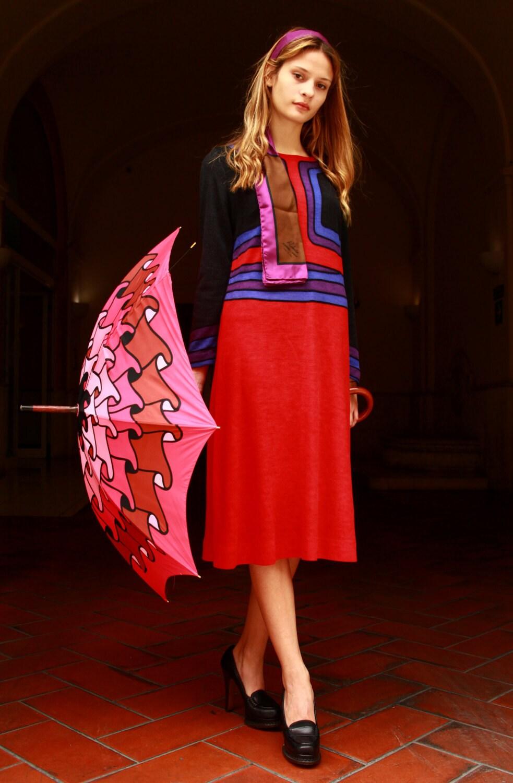 Vintage Scarf Styles -1920s to 1960s Roberta Di Camerino Vintage Dress 60 Trompe Loeil $642.06 AT vintagedancer.com