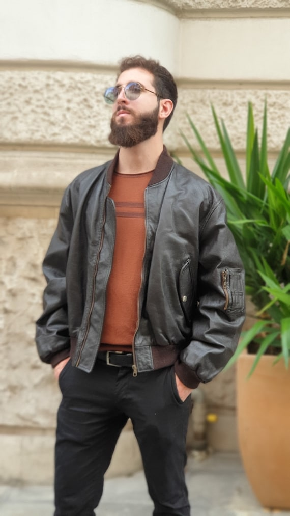 Vintage 90s' leather biker bomber jacket