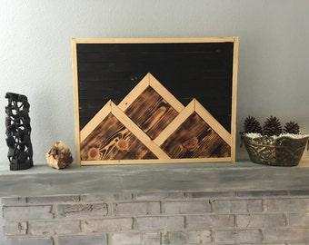 Mountain Range Wood Art