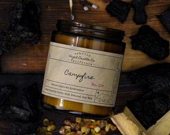 Campfire Scented Soy Wax Candle / Hand poured in California