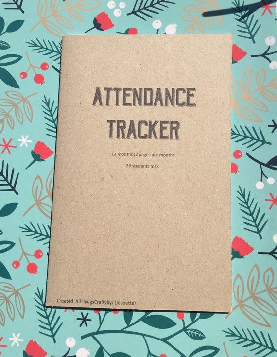 attendance planner printable school attendance teacher etsy