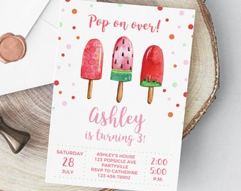 Popsicle Birthday Invitation, Printable Birthday Party Invitation, Summer, Fruit Popsicles, Ice Cream, Watercolor, Download Digital Print