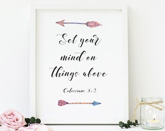 Set Your Mind On Things Above, Colossians 3:2, Christian, Printable Wall Art, Arrows, Bible Verse, Digital Print, Download