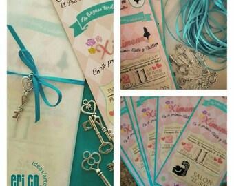 Invitations, 20 Alice in Wonderland tea party, birthday invitations
