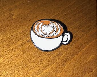 Latte Love Coffee Art Enamel Pin Capuccino Cold Brew