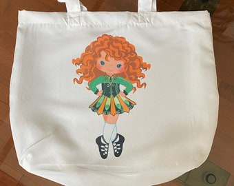 TOTE BAG Dance Tote Irish Ghillies WITH Ribbon Trim and Bow