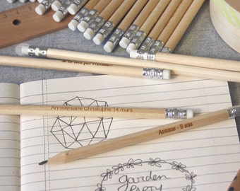 Personalized pencils in wood, pack of 5, wedding guests gift, personalization with your text engraved, for birthday party, Anniversary