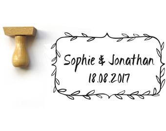 Custom wedding stamp, cottage rustic style, Personalized invitation stamp, save the date, customized with names and date, rectangle shape
