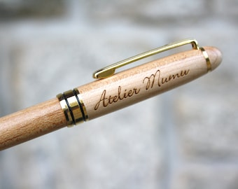 Personalized pen, unique birthday wedding guests gift, custom original present, name, initials, date engraved by laser, with velvet pocket
