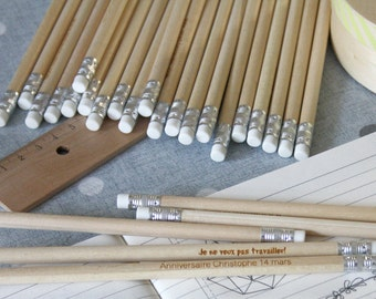 Pack of 100 Personalized wooden pencils, ideal wedding guests gift, personalization with your text engraved, custom present marriage