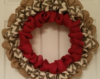 Burlap Wreath in Red and Chevron